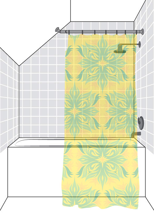 Partial Sloped Shower Curtain Rod