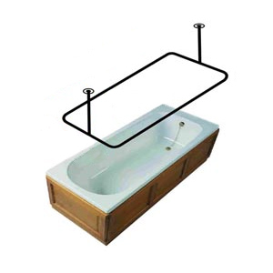 Rectangular Shower Rod Stainless Steel Ceiling Mount 30 39 39 X 60 39 39