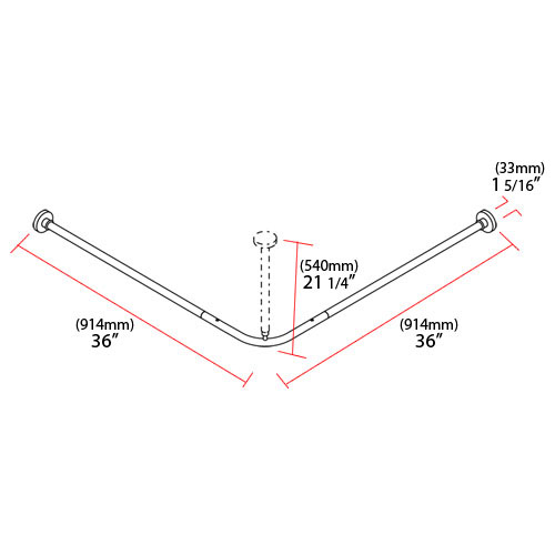 Nylon Corner Shower Rod