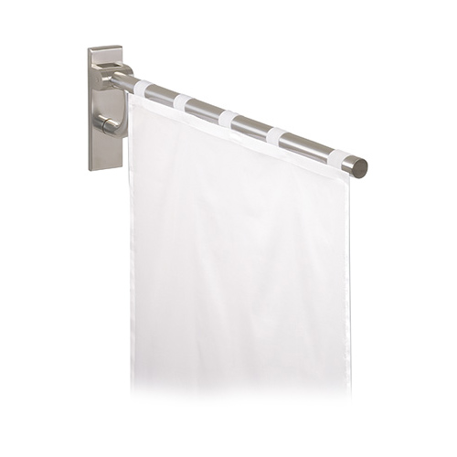 stainless steel curtain rod w shower curtain. Black Bedroom Furniture Sets. Home Design Ideas