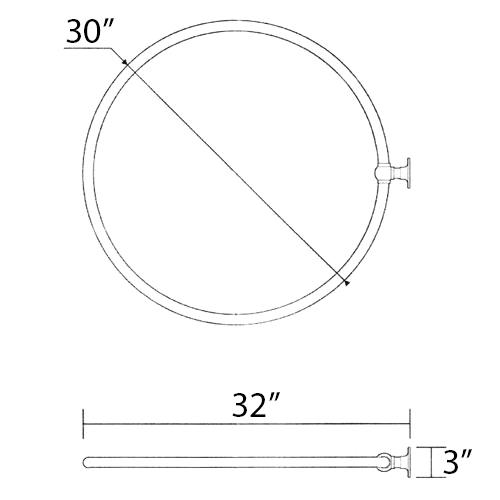 30'' circular shower curtain rail - wall mounted shower curtain rod